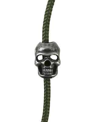 Skull Cord Stoppers - Silver Paracord Camping Rucksack Ranger Beads Pack of 10