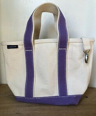 5c64b4b97487 Lands End Cotton Stiff Canvas Tote Bag Ivory Purple Open Top W key Clip  Small