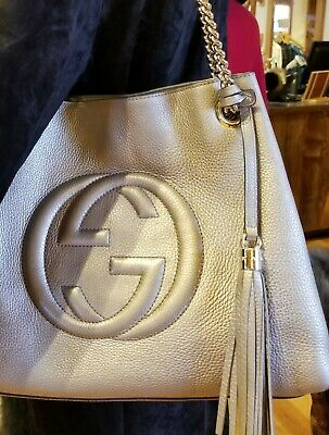 cc23f67d9398 Gucci Soho Gold Chain Tote Gold Leather Shoulder Bag Guaranteed Authentic!