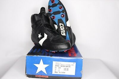 2658b14acc3c Vintage 90s New Converse Mens 11 Cons Invader Hi Leather Football Cleats  Black