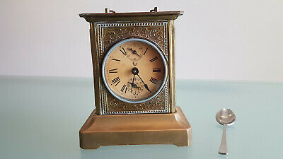 ANTIQUE BRASS CARRIAGE CLOCK (c1900s) MUSIAL ALARM PLAYING DAISY.  WORKING.