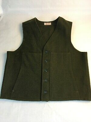 Vintage Filson Vest Men's XL Mackinaw Wool USA Made Olive Green Button Hunting