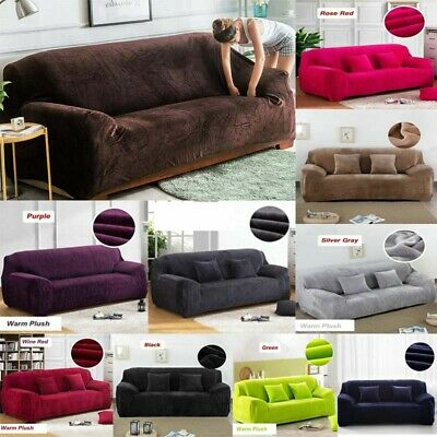 Stretch Elastic Fabric Sofa Cover Sectional/Corner Couch Covers Plush Slipcover