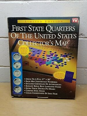 LE First State Quarters Of The United States Collector's Map W/COA New In Box