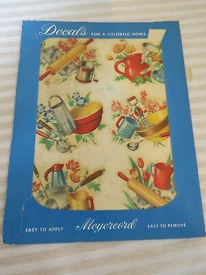 Vintage 1940s New Old Stock Décor Decals, Cooking Items, 1 Sheet