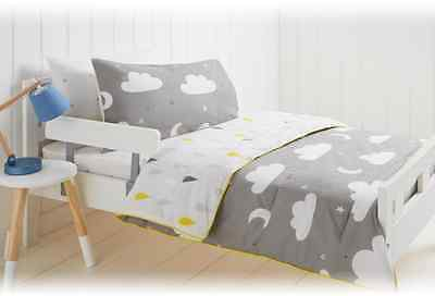 Clouds, Raindrops & Stars Reversible Cot / Toddler Bed Comforter Set - Nursery