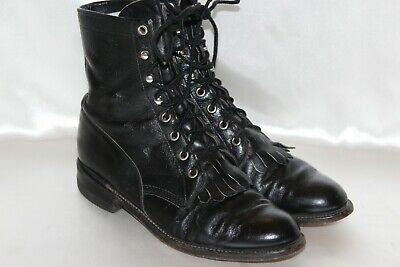 a22d816aa548 JUSTIN Black Leather Kiltie Western Granny Low Heel Lace Up Boots Sz 6.5 M
