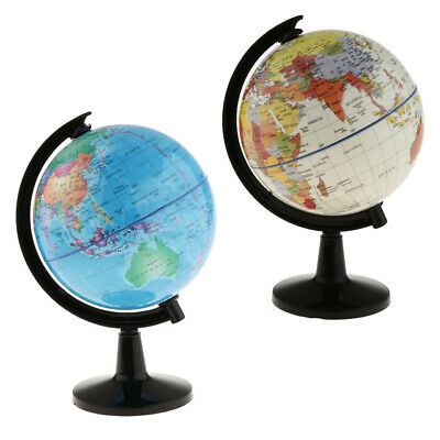 2Pcs World Globe Map On Stand Kids Student Educational Toys 10.6cm for Kids