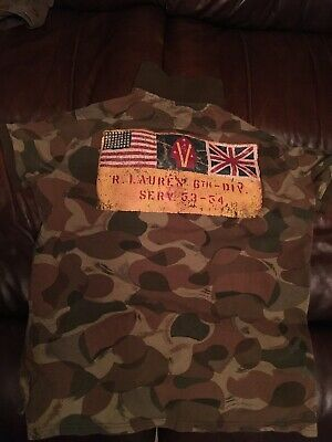 068ffa29987 Polo Ralph Lauren Mens Camo Rugby Shirt Custom Fit US Flag 6th Division  Size M