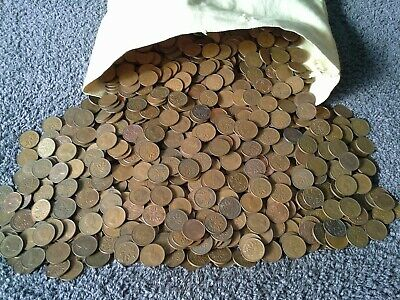 Canada 1 Cent Penny Roll 50 Circulated Unsearched Dated 1920's thru 1980's