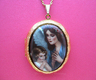 Porcelain GUARDIAN ANGEL praying with GIRL CAMEO Locket Necklace Valentine Gift