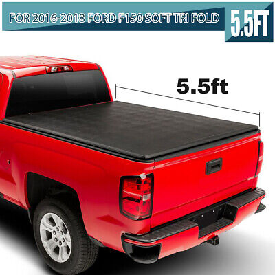 Tri-Fold Tonneau Cover For for 2014-2018 Ford F-150 5.5Ft Soft Short Truck Bed