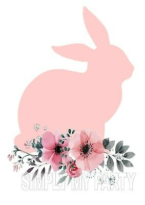 Rabbit Bunny With Flowers  - Easter T-Shirt Iron On Transfer