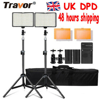 Travor 2PCS 160 LED Video Light Photography Studio Lighting Kit +2M Stand UK DPD