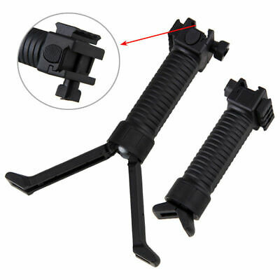 Tactical Airsoft Handle Bipod Fore Grip Weaver 20mm Rail Shooting Black Hunting