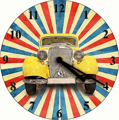 NOVELTY WALL CLOCK - American Hot Rod Car Design (2) - Transport Wall Clock