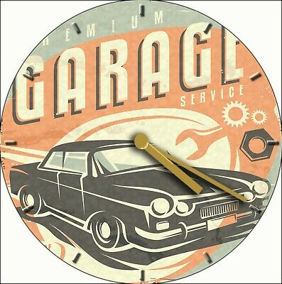 NOVELTY WALL CLOCK - American Car Garage Design - Retro Wall Clock