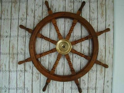 "36"" Wooden Ship Steering Wheel Brass Ring Vintage Wall Decor Nautical Antique"