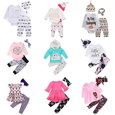 Cute Newborn Baby Boy Girl Tops Romper Floral Pants Leggings Outfits Set Clothes