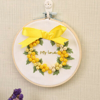 DIY 3D Ribbon Embroidery Kit with Frame Needlework Craft for Beginners Kids