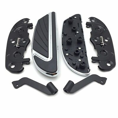 HTTMT Chrome Airflow Rider Footboard Kit For Heritage Softail Fat Boy Road Glide