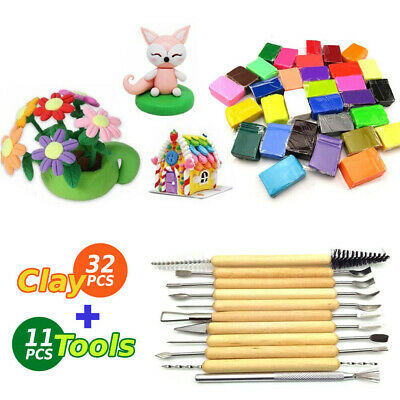 DIY 32PCS Craft Oven Bake Polymer Modelling Clay Blocks with 11pcs Carving Tool