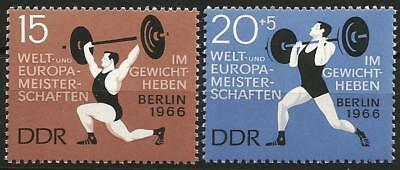 Germany (East) DDR 1966  MNH - Sports - Weightlifting Championships Snatch Jerk