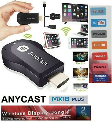 Cromecast Anycast Tv Miracast Hdmi Dongle Media Video Streamer Airplay Wifi Ios