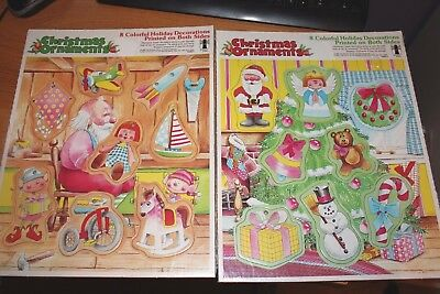 ef4cb9e8d607 Vintage Tray Puzzles Rainbow Works Lot 2 Christmas Ornaments NOS Sealed 1980