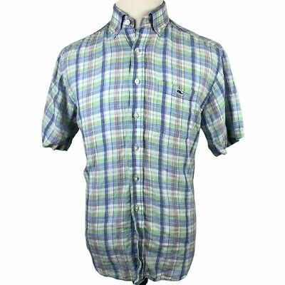 Vineyard Vines Tucker Shirt 100% Linen Medium Blue Green Pink Plaid Short Sleeve