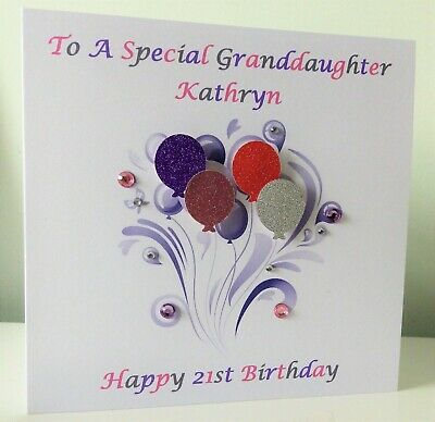 21st Granddaughter Birthday Card Personalised Female 18th Sister Niece Friend