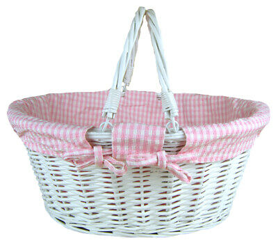 White Wicker Shopping Basket Folding Handles & PINK GINGHAM Lining- 41x33x18cm