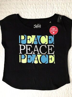 1ceae9bb21e63 Justice Girls Top Shirt Crop Short Sleeve Peace Sequence Glittered Size 7  NWT