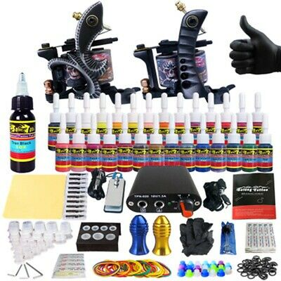 Complete Tattoo Kit 2 Professional Machine Gun 54 Inks Power Supply Needle TK256