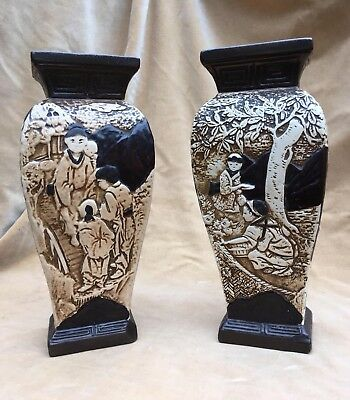 BEAUTIFUL PAIR of BRETBY POTTERY ORIENTAL STYLE VASES
