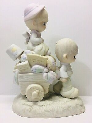 """Precious Moments """"Walking By Faith"""" 1979 Figurine - Couple Packed Up Moving"""