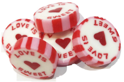 Red & Pink LOVE IS SWEET Wedding Favour Wrapped Rock Sweet - Strawberry Smoothie