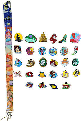 Ariel Little Mermaid Starter Lanyard Set w/ 5 Themed Disney Trading Pins - NEW