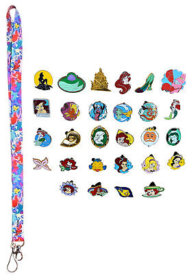 Ariel Little Mermaid Lanyard Starter Set w/ 5 Themed Disney Trading Pins - NEW