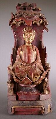 18th/19th Century Chinese Polychrome Carved Wood Figure Shrine Work Of Art