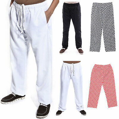 Chefs Trousers / Chef Pants Uniforms Trouser White - Black - Chess Red