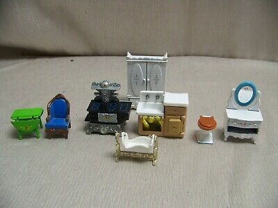 Lot Of Mixed Miscellaneous Die Cast Metal Miniature Dollhouse Furniture AS IS