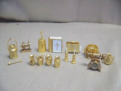Lot Of Mixed Miscellaneous Brass Miniature Dollhouse Accessories