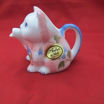 Vintage Art Pottery Floral Andrea By Sadek Small Pitcher Kitty Cat Creamer
