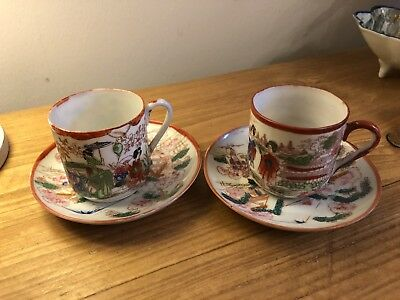 Vintage Pair Of Japanese Satsuma Porcelain Cups And Saucers In Lovely Condition