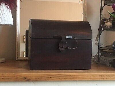 Large Vintage Hand Made Dark Wood Dome Topped Tea Caddy In Lovely Condition