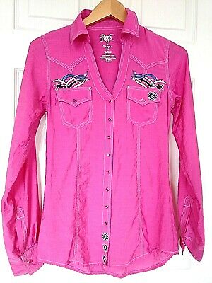 68a9487e WRANGLER ROCK 47 Womens Ladies Western Shirt Small SPARKLY BLING ...