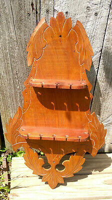Antique Victorian Eastlake Carved Walnut Teaspoon Spoon Wall Rack