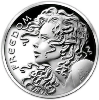 SBSS 1 oz .999 SILVER PROOF ROUND FREEDOM GIRL FREE REIGN SILVER SHIELD COIN COA
