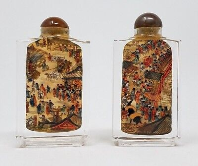 Antique Reverse Inside Painted Chinese Community Scenes Snuff Bottle apple jade